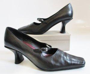 Viktorianisch Leder Schwarz Pumps Gino Ventori Größe 40 Spitz Schuhe Riemchen Glattleder
