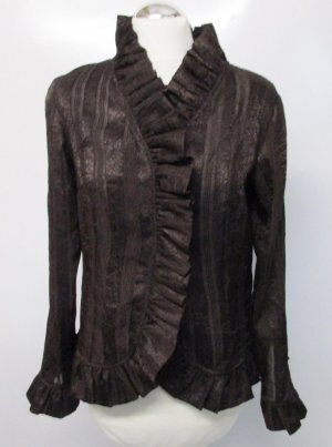 Viktorianische Rüschen Bluse Monnari Größe M 38 Braun Dunkelbraun Glanz Streifen Tranzparenz Kurzbluse Statment Viskose Volants