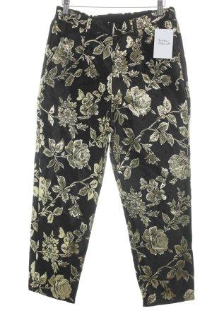 Vila Pantalon 7/8 noir-doré motif floral style décontracté