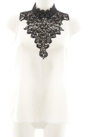 Vila ärmellose Bluse weiß-schwarz Elegant