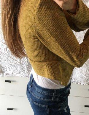 Vila Blazer Senfgelb Zips kurz Jacke Gold cropped S M 36 Neu