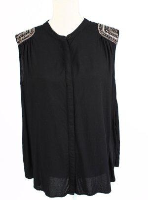 Vila Bluse Top Shirt schwarz L 40 silber glitzer pailetten