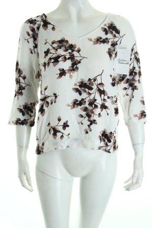Vila Bluse weiß-dunkelbraun florales Muster klassischer Stil