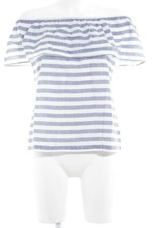 Vila Blusa tipo Carmen azul pálido-blanco estampado a rayas look casual