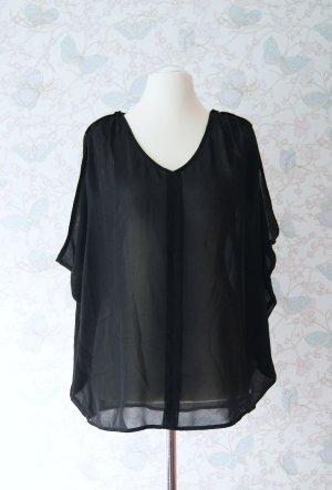 VILA Chiffon-Bluse, Chiffon-Top, Oversize-Top, schwarz, Gr. L (40/42), NEU