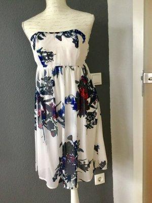 Vila Cocktailkleid Kleid Chiffon weiß geblümt