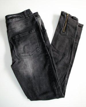 VILA Highwaist Zipper Skinny Ankle Jeans Sz 27, wie neu, Black Denim Used