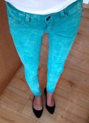 VILA Jeans Grün Acid Wash XS 34 Skinny Röhrenjeans