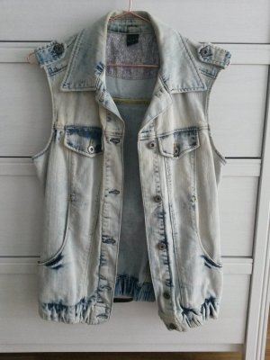 Vila Jeans Weste S stonewashed destroyed Look Jeanweste blogger zara levis cheap