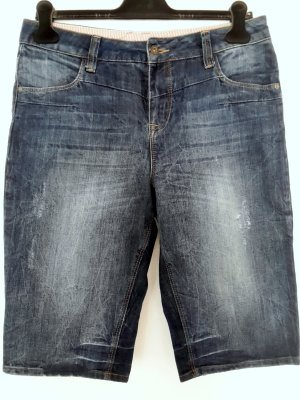 Vila Jeansshorts dunkelblau Washed-Optik Used-Look