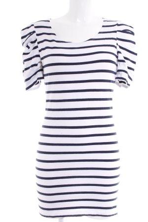 Vila Jerseykleid weiß-dunkelblau Ringelmuster Casual-Look