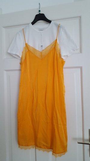Vila Kleid Slip Dress L 38 40 Orange-Gelb NEU!