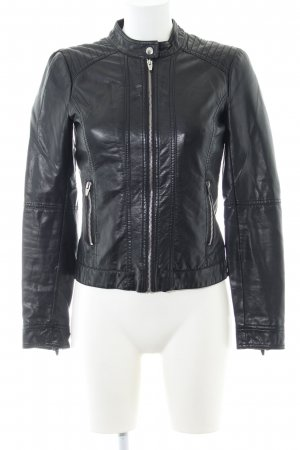 Vila Faux Leather Jacket black quilting pattern casual look