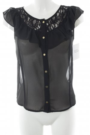 Vila Short Sleeved Blouse black romantic style