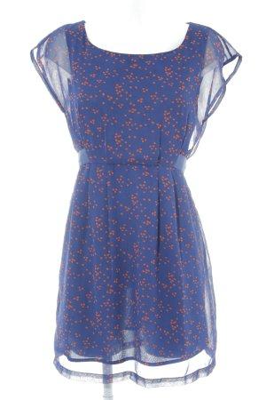 Vila Kurzarmkleid blau-ziegelrot Punktemuster schlichter Stil