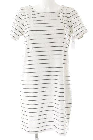 Vila Robe à manches courtes blanc-noir motif rayé style décontracté
