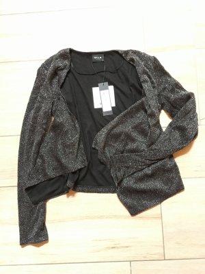 Vila kurze Jacke Strickjacke Größe M schwarz silberfarben