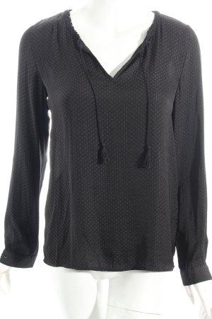 Vila Langarm-Bluse schwarz Allover-Druck schlichter Stil