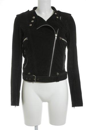 Vila Lederjacke schwarz-silberfarben schlichter Stil