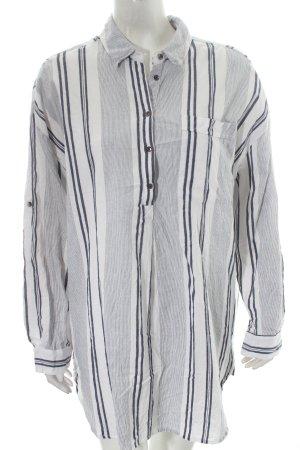 Vila Long-Bluse weiß-dunkelblau Streifenmuster Street-Fashion-Look