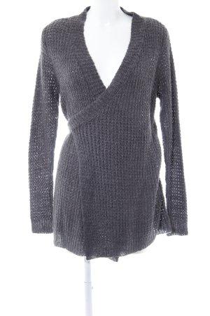 Vila Gilet long tricoté gris style décontracté