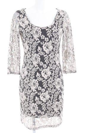 Vila Midi Dress black-cream floral pattern '90s style