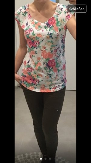 Vila Oberteil t-Shirt Blogger s 34 36 xs Bluse Hemd Blumen Print Sommer