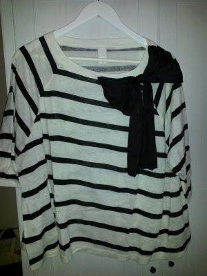 Vila, oversized dreiviertel Shirt mit Schleife, gestreift, Gr. S