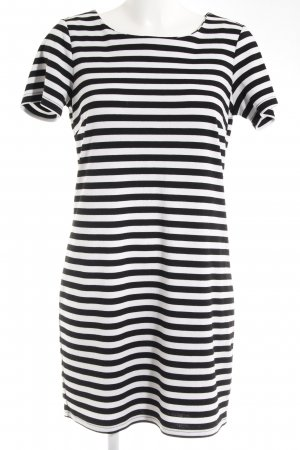 Vila Polo Dress white-black striped pattern casual look