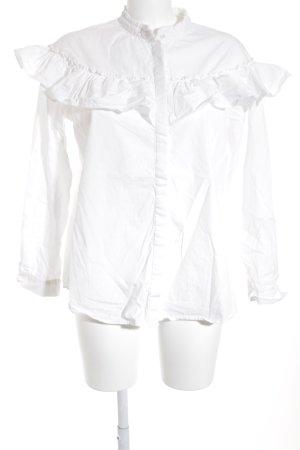 Vila Rüschen-Bluse weiß Elegant