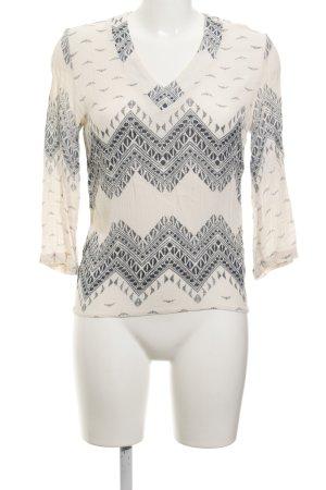 Vila Schlupf-Bluse creme-graublau abstraktes Muster schlichter Stil