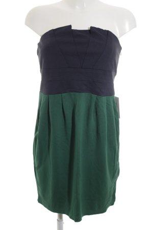Vila schulterfreies Kleid waldgrün-dunkelblau Party-Look