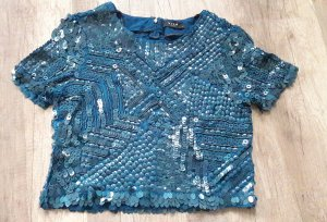 Vila Shirt Crop Cropped Pailletten Türkis Party Glam Glitzer S