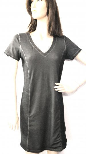 Vila Shirt Kleid Nähte Steppung used look V-Ausschnitt grey Gr S von VILA