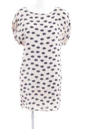Vila Vestido estilo camisa crema-azul oscuro estampado con puntos de colores