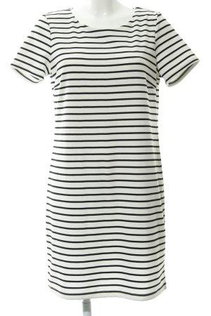 Vila Robe t-shirt blanc-noir motif rayé style décontracté