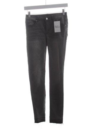 Vila Skinny Jeans grau Biker-Look