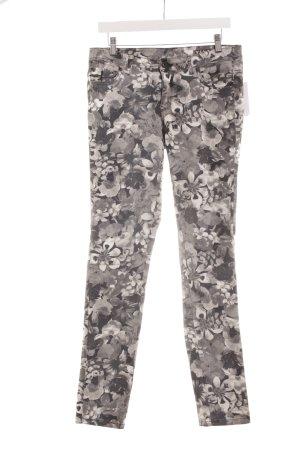 Vila Skinny Jeans weiß-grau Blumenmuster Casual-Look