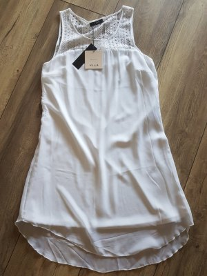 Vila High Low Dress white