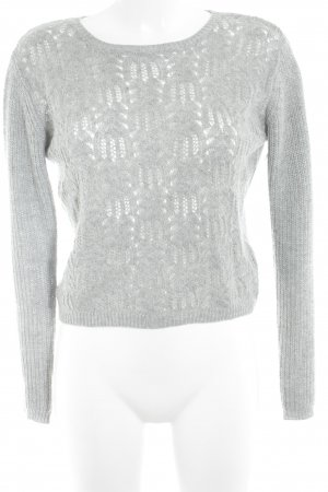 Vila Knitted Sweater light grey weave pattern casual look