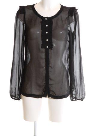 Vila Transparenz-Bluse schwarz Elegant