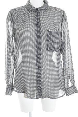 Vila Transparenz-Bluse schwarz-hellgrau Hahnentrittmuster klassischer Stil