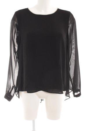Vila Transparenz-Bluse schwarz-silberfarben Casual-Look