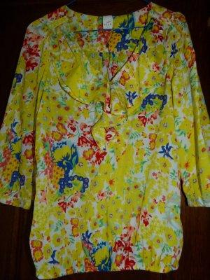 VILA Tunika Blumen Rüschen Gr.S/36 gelb *Neu*