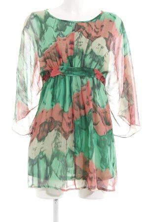 Vila Tunikabluse hellgrün-rot florales Muster Casual-Look