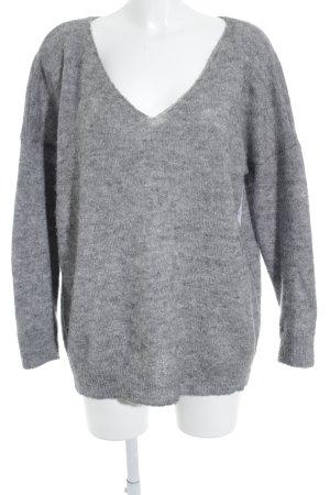 Vila V-Ausschnitt-Pullover grau meliert Casual-Look
