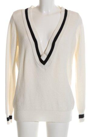 Vila V-Ausschnitt-Pullover schwarz-wollweiß Casual-Look