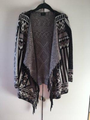 Vila Viline Knit Cardigan Ethno schwarz lila grau XS 34 35 Stola Poncho Jacke