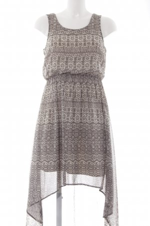Vila High Low Dress cream-grey abstract pattern Boho look
