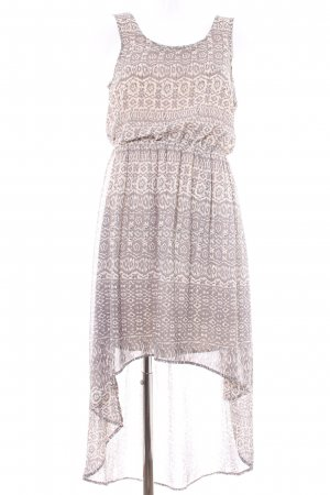 Vila High Low Dress cream-grey brown mixed pattern Gypsy style